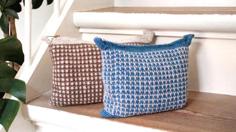 Hæklet pung med mønster hækleopskrift taske